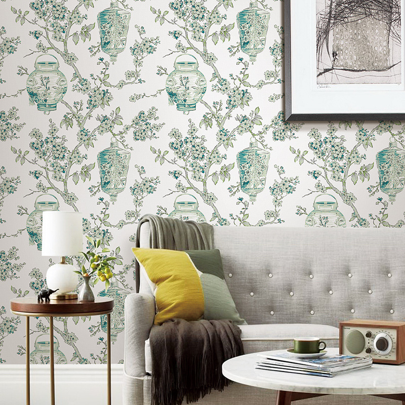papier peint pour les murs 3 d pastorale papier peint salon chambre tv fond mur arbre fleurs et. Black Bedroom Furniture Sets. Home Design Ideas
