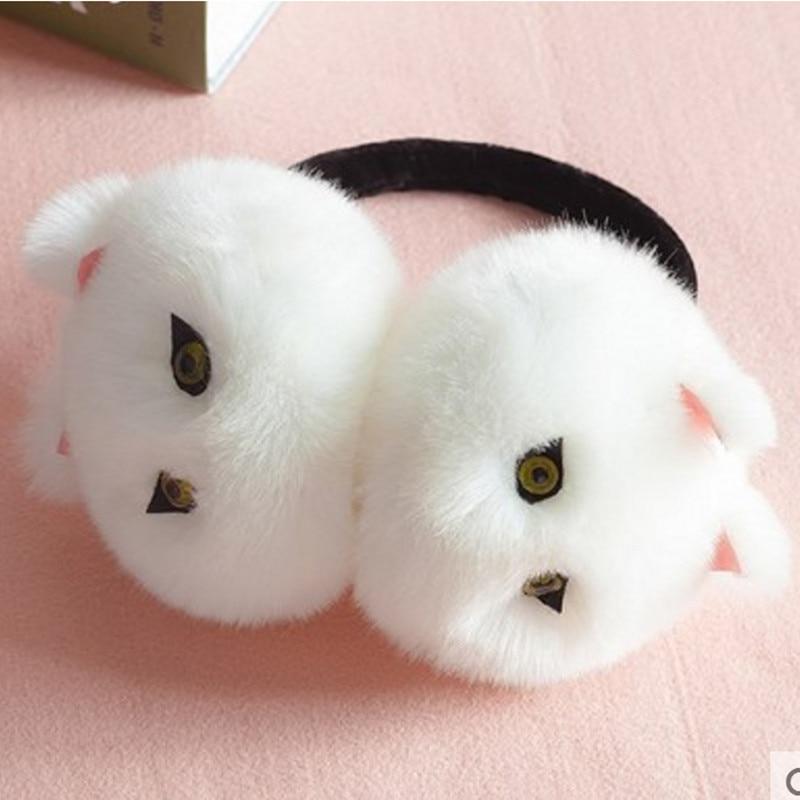 Winter Autumn Warm Faux Fur Ear Muffs Cute Cat Ear Earflap Rabbit Fur Earmuff For Girls Ladies Plush Ear Muffs Women AD0606