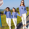 New matching family clothes front short long back blue family shirts hole ripped white pants fashion mommy and me clothes top