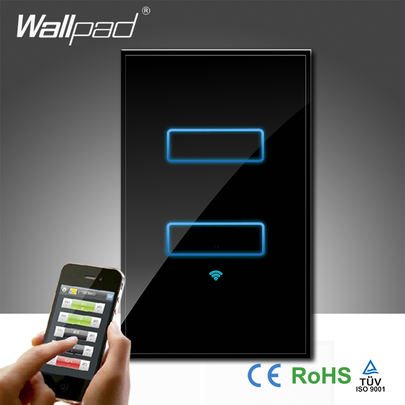 ФОТО Hot Sales Wallpad LED Black Glass AU US 120 110~250V 2 Gang Wireless Wifi Remote Light Control WIFI Wall Switch, Free Shipping