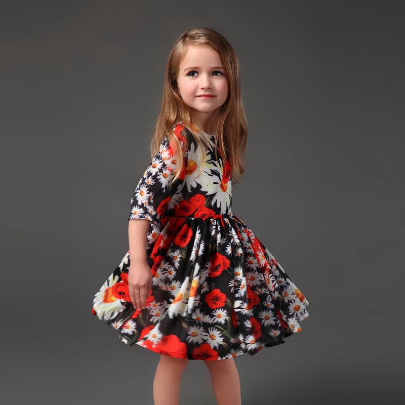 Summer Brand mom kids girls flower dress pleated half sleeve family clothes mother and daughter dresse ssister matching clothing 2016 spring family fashion clothing half sleeve elegant floral print dress clothes for mother and daughter baby girls dresses