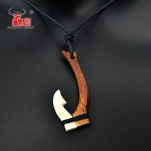 1PC Hawaii Tribal Surfer Style Handmade Carved Yak Bone & Koa Wood FISH HOOK Pendant WoMen's Men's Necklace Choker