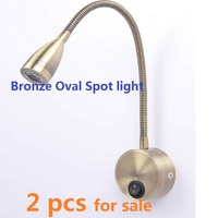 220v 3w Warm White LED Flexible Gooseneck Reading Lamp Wall Bedside Light Rotation Arm Touch Switch Stalk Lamp Golden Aluminum