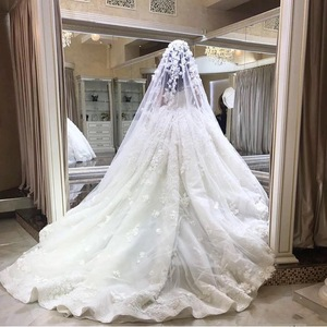 Image 5 - אימפריה מתוקה פלאפי תחרת אפליקציות ואגלי קריסטל יוקרה חתונה מוסלמית שמלות שמלת תפור לפי מידה 2020 חדש SA15