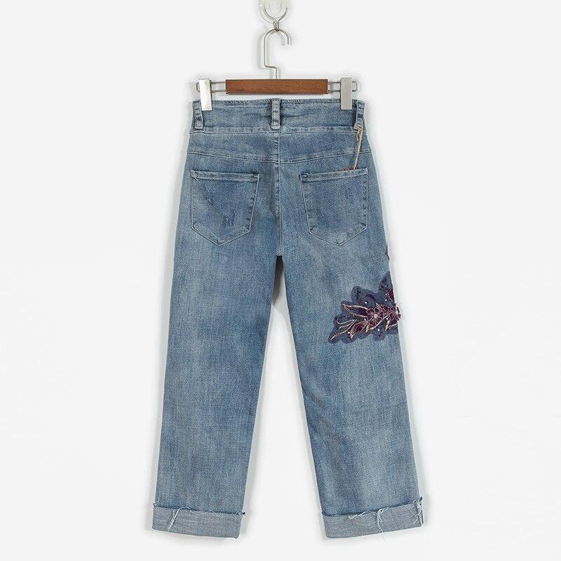 Printemps Broderie Pour En 2018 Pantalon été Poignets Femelle Fleur Les Jeans Strass Difficulté Droite Femmes Denim Femme rgtgq