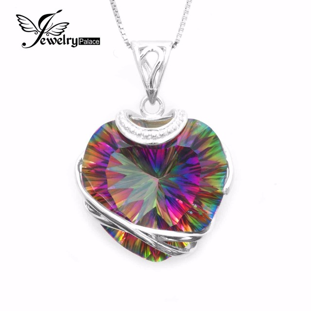 Huge 31.6ct High Quality Rainbow Fire Mystic Topaz Heart Necklace Pendant 925 Solid Sterling Silver Romantic Gift For Women