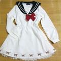 Frete grátis Vestido Lolita Doce Arco Sailor Moon Traje Meninas Diariamente Desgaste Vestidos de Festa Dresse Uniforme Japonês