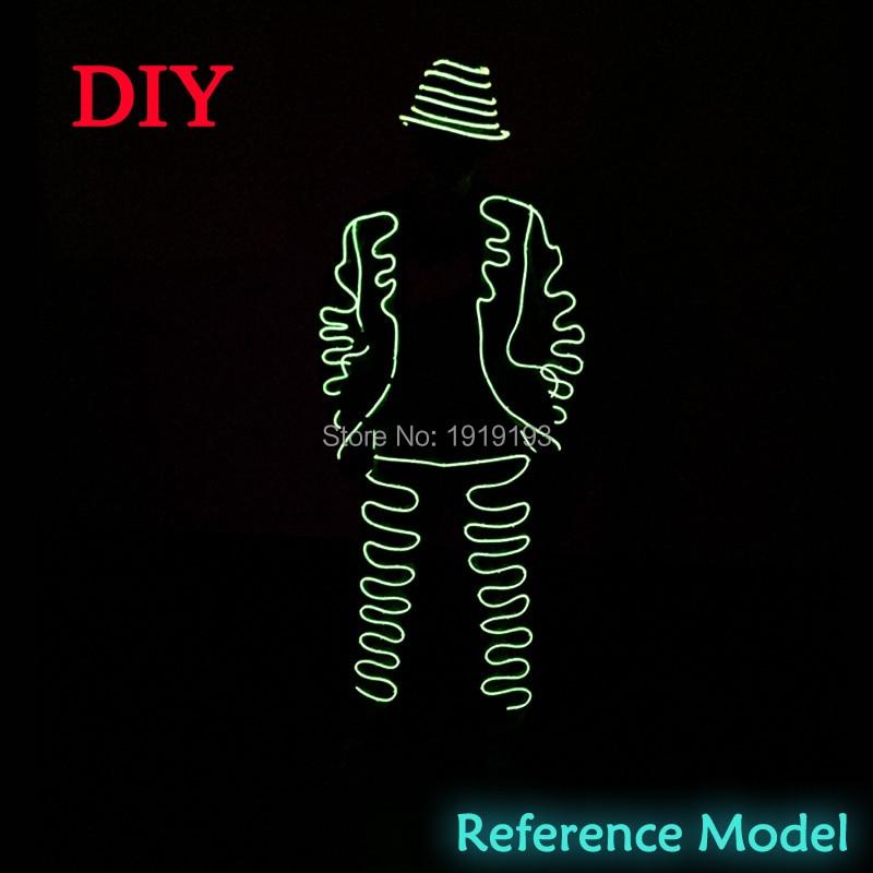 10 Renk Seçimi Gangnam Stil DIY LED Takım EL tel parlayan Kostüm - Şenlikli Aydınlatma - Fotoğraf 3