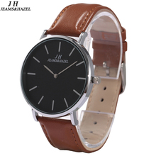 Купить с кэшбэком classical black & brown men watch Top Luxury  genuine leather Band waterproof Quartz thin clock wristwatches