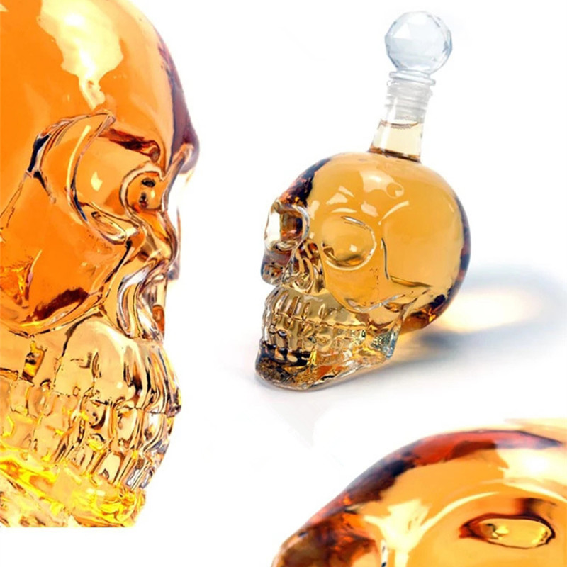1000ML Creative Crystal Skull Wine Bottle Vodka Glass Skull Wine Glass Bottle Bar KTV Christmas Holiday Supplies