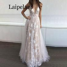 Laipelar Luxury Sexy Women White Perspective Lace V-neck Sequin Floor-Length Maxi Dress Open back Long Dress Women Party Dress open back tribal print maxi dress