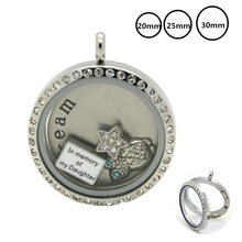 20/25/30MM Silver Magnetic Glass Locket Stainless Steel Floating Charms Living Memory Necklace Pendants For Christmas