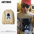 Dog in top hat Print crewneck Sweatshirts 2016 new HEYBIG hip hop Anime Hoodie Asian Size!! funny Youth Streetwear for Winter