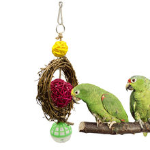1PCS Small Parrot Vine Rattan Circle Gnawing Toy Swing Swing Ring Gnawing Toy Station Frame Bird Cage Accessories(China)