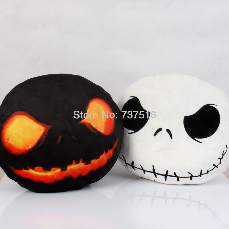 The Nightmare Before Christmas Jack Face & Halloween Edition Dark Evil Jack Plush Pillow Stuffed Expression Cushions 2pcs New the nightmare before christmas jack polyester shoulder bag colorful halloween pumpkin printing