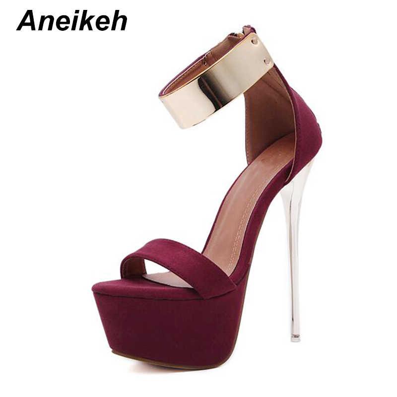 Aneikeh Ayak Bileği Kayışı Topuklu platform sandaletler parti ayakkabıları Kadınlar Için Düğün Pompaları 16 cm Yüksek Topuklu Payetli Gladyatör Sandalet Siyah