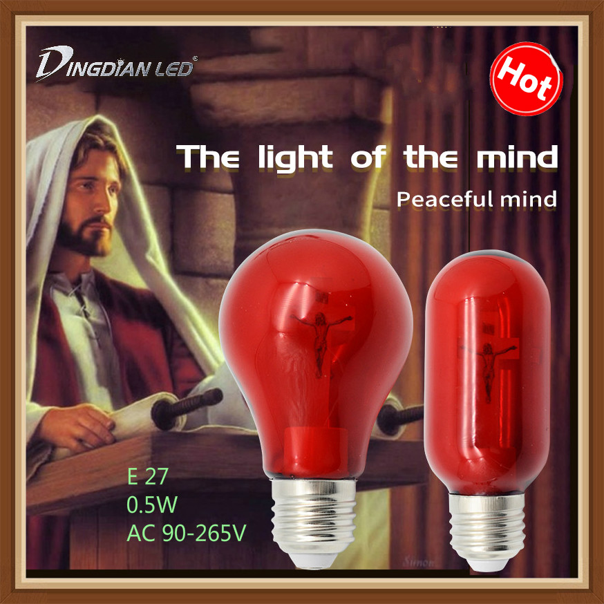 E27 Cross Jesus Church Bulb 90-265V 0.5W Red Flame Peaceful Mind Light Cathedral Bar Pray Hotel Square Decorative Lamp Led Bulb