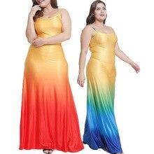 2019 summer new fashion gradient color sling long dress women clothing spot dresses plus size