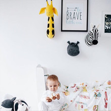 Nordic Style Animals Giraffe Elephant Rabbit Zebra Wall Mount Kids Room Home Decoration Stuffed Plush Dolls Artwork Wall Toys(China)