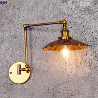 IWHD Loft Antique LED Wall Light Edison Copper Swing long Arm Wall Lamp Vintage Industrial Sconce Appliques Pared Wandlamp