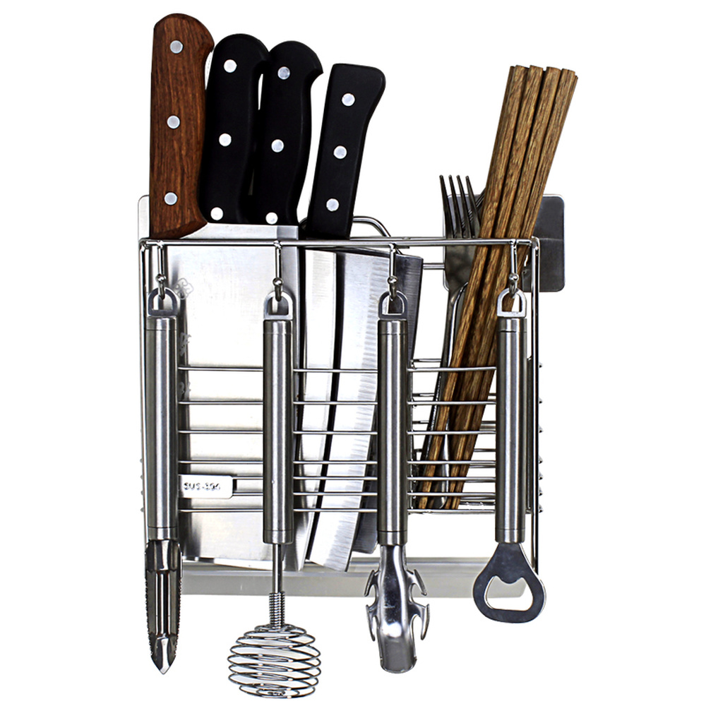 Kitchen knife holder 304 stainless steel free punching wall hanging chopsticks cage knife drain storage rack wx8311027