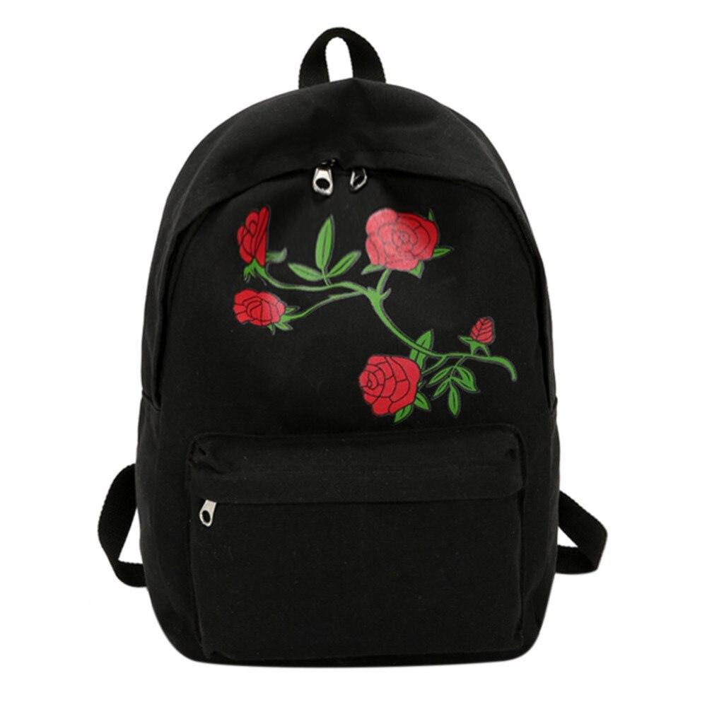 Flower Embroidery Backpack Girls Large School Bag Pink Rucksack Travel Canvas Backpacks