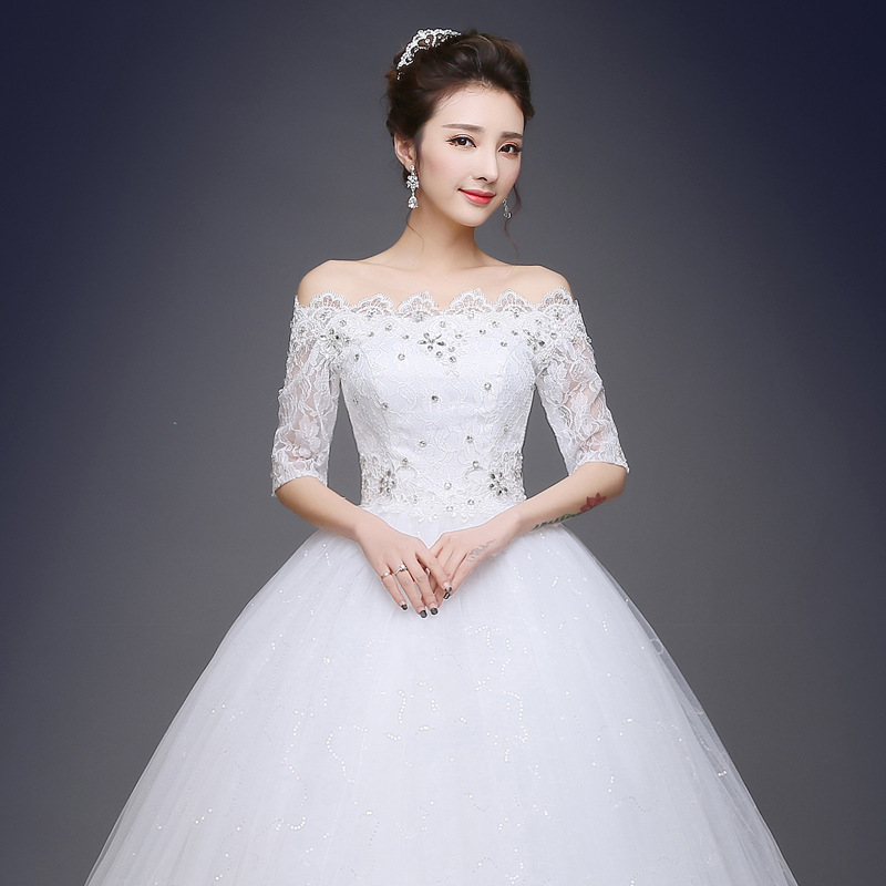 New White Red Bride Dress 2019 Lace Simple Wed 15 Dress Flower Embroidered Tulle Wedding Dress Robe Sleepwear Shoulder Top 312a