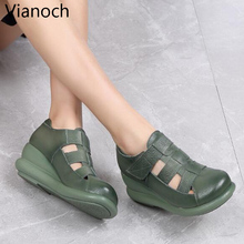 2019 New Fashion Women Sandals Genuine Leather Shoes Summer Wedges Shoe Woman Size 40 wo19009