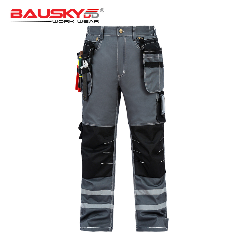 Bauskydd High Quality Durable 100% Cotton Mens Blue Cargo Trousers Working Pants With Knee Pads Workwear Free Shipping