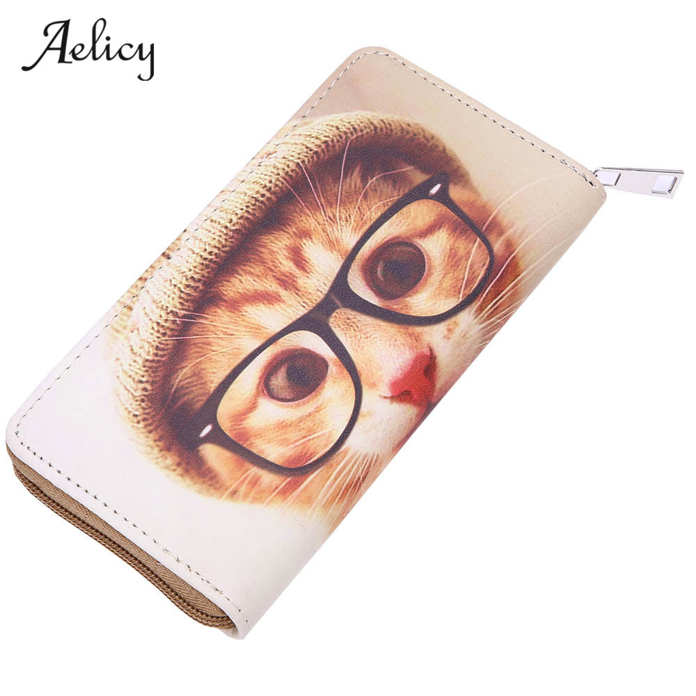 Aelicy Women Leather Zipper Long Wallet Animal Prints PU Women Wallet Fashion Female Purse Long Coin Card Holder Carteira 0918 pacgoth japanese and korean style pu leather coin purse casual animal prints cute cats hot lip pattern zipper cash pouch 1 piece