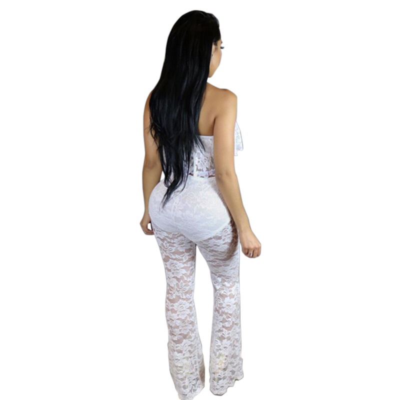 e80589a7f9f3fd Sedrinuo 2018 Summer Ruffles Off Shoulder Rompers Womens Jumpsuit Two  pieces Outfits Sexy Bodycon Wide Long Pants White Jumpsuit-in Jumpsuits  from Women s ...