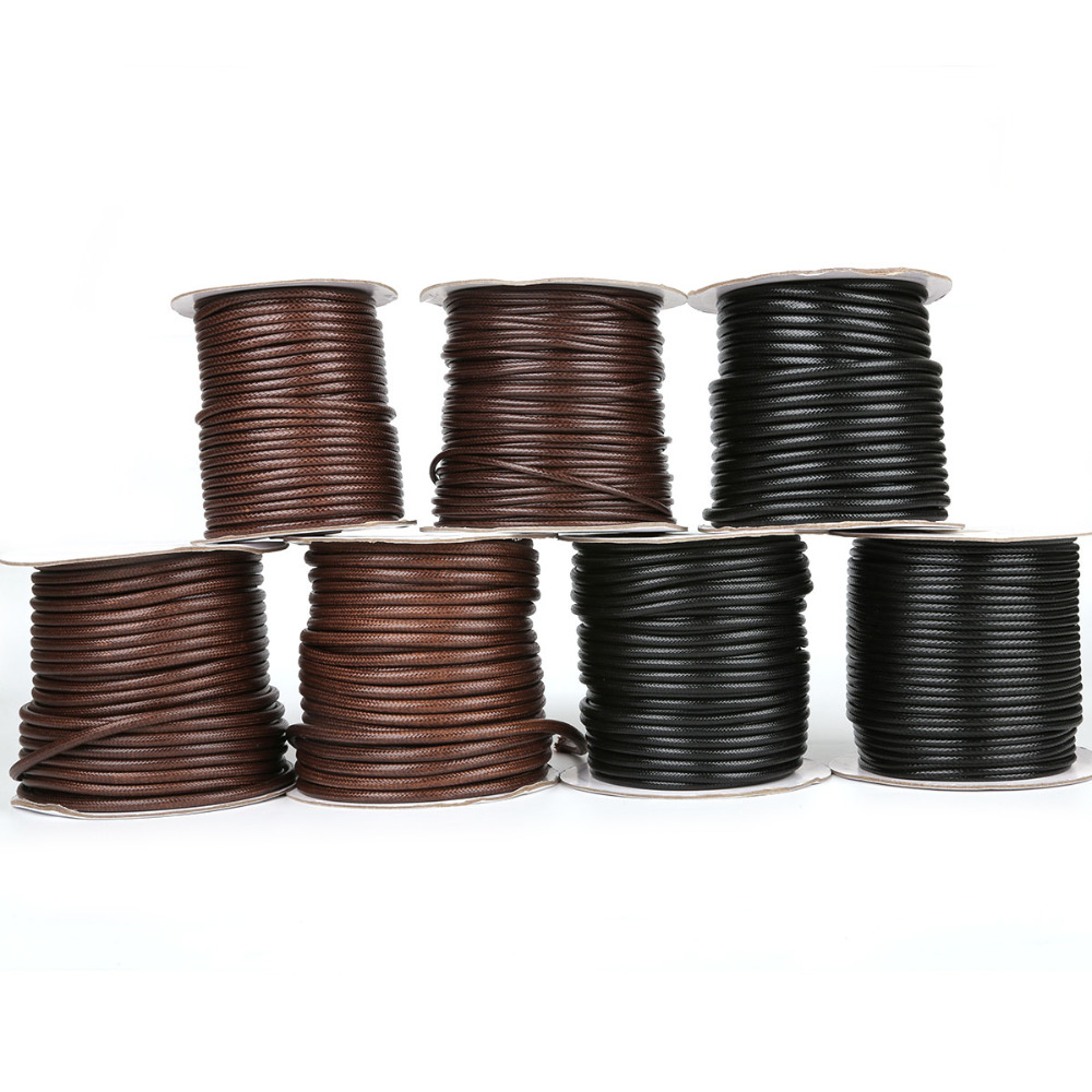 30-80meters/roll  Necklace Leather Cord Dia 2.5mm/3mm/3.5mm/4mm/5mm Korean Round Waxed Cord Thread For Necklaces Jewelry