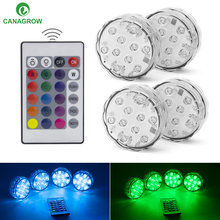 10leds RGB Led Underwater Light Pond Submersible IP67 Waterproof Swimming Pool Battery Operated for Wedding Party