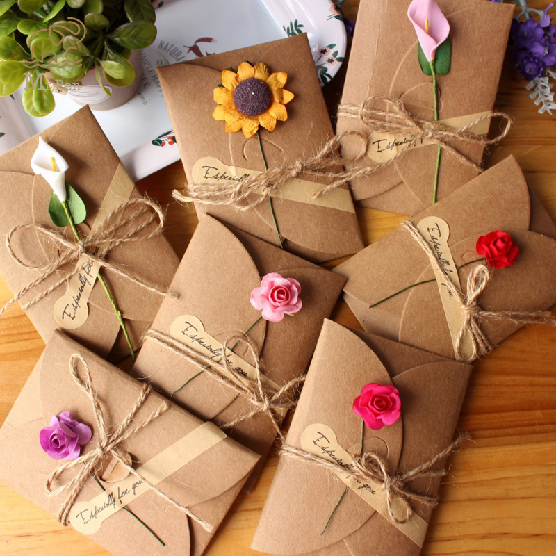 6pcs/lot Kraft Paper Invitation Greeting Card With Envelope Handmade Dry Flower Wedding Party Invitation Envelopes L Size