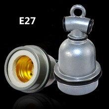 LumiParty E27 de aluminio Portalámparas retro de calor de cerámica base de bombilla con tornillo hembra Vintage luz de techo adaptador de soporte