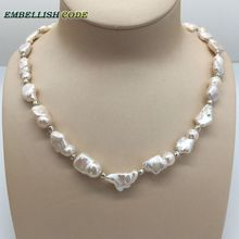 Petit collier type baroque, perles de style carré irrégulier, perle de culture deau douce, avec perles de 3mm, bijoux spéciaux