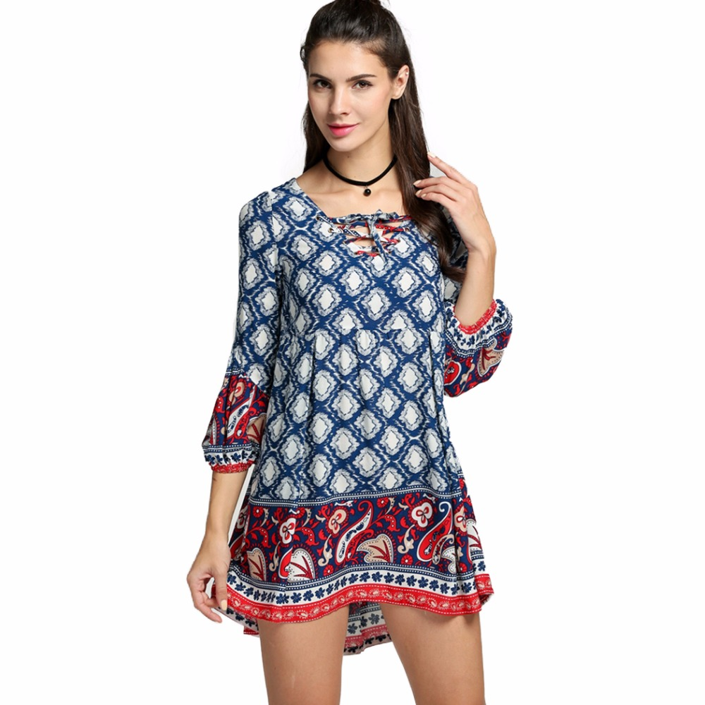 Fashion Elegant Sexy Casual Vintage Tunic Women Dress Female Short