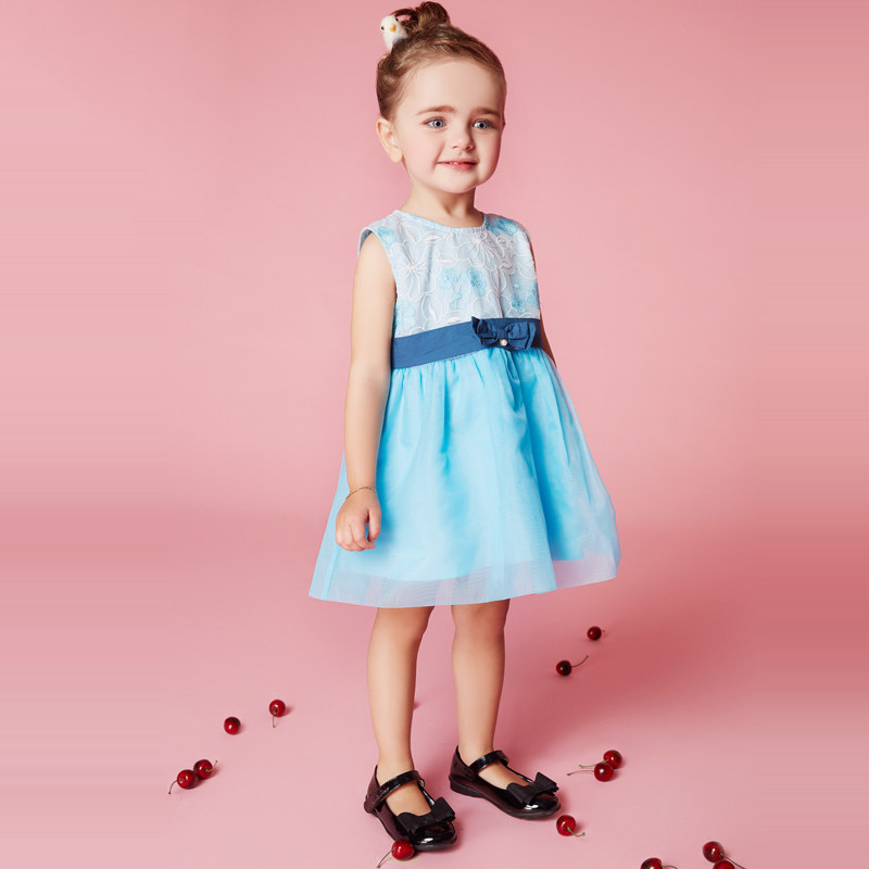 2017 Cute Baby Little Girls Dress Lace Blue Mint Cool Clothes Adorable Elegant Party Wear Sassy Clothes for Age2345678 Years Old pink blue adorable cute owl wood clip20pcs