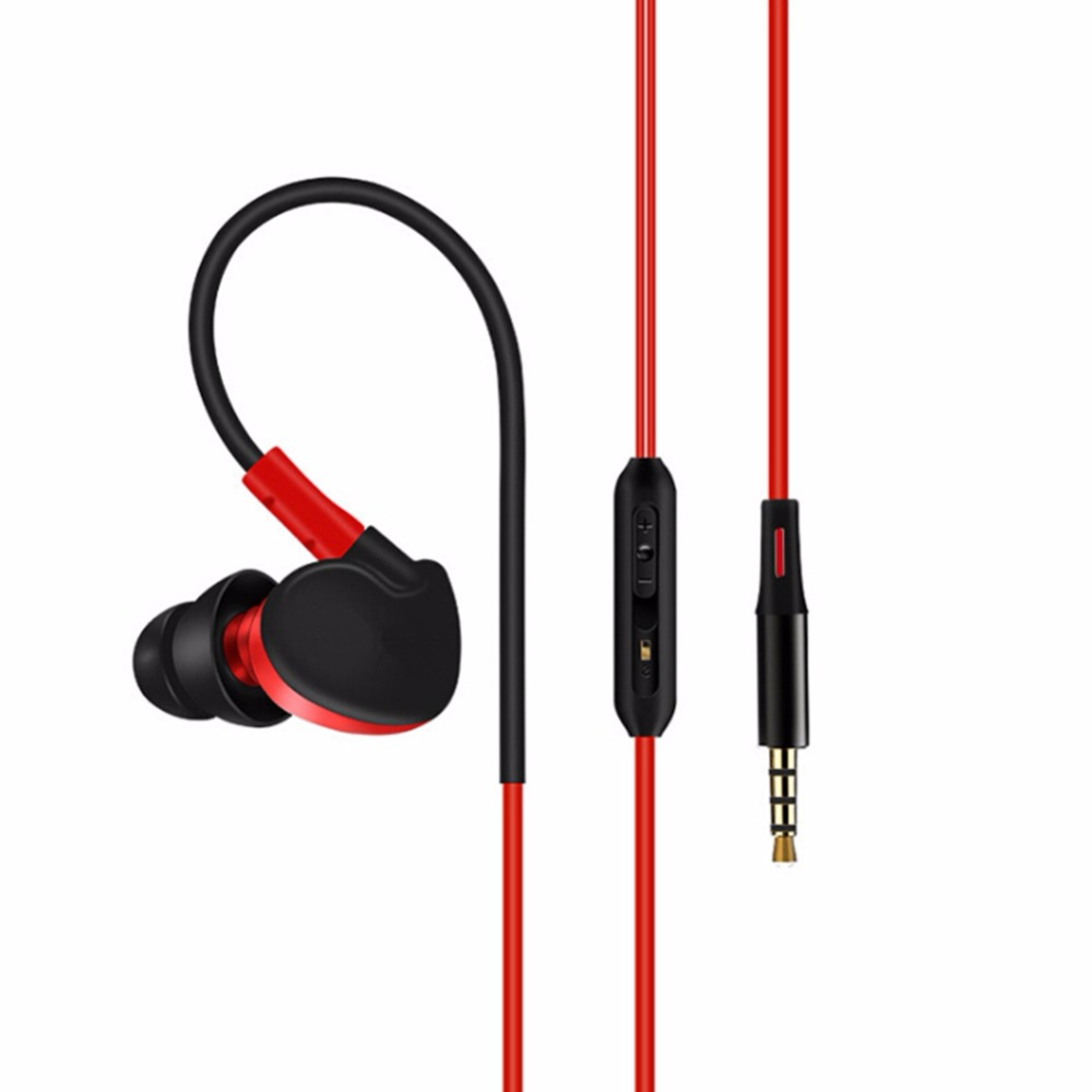 Sweatproof Bass Stereo Headphones Earphone Volume Control Sport Running Wired Headset With Microphone Ear Hook Earbud with Case