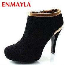 ENMAYER New Arrival Vogue women boots Platform Pump Suede High Heel Shoes Ankle Boots for 2 Colors drop Shipping 3426