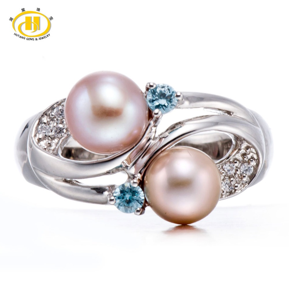 Hutang Pink Cultured Freshwater Pearl & Sky Blue Topaz Gemstone Solid  Sterling Silver 925 Rings (