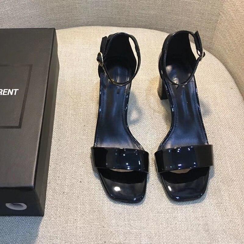 Été nouvelle femme boucle talons hauts Sexy couleur unie en cuir verni chaussures élégant marque dame fête mariage sandales talon 7cm