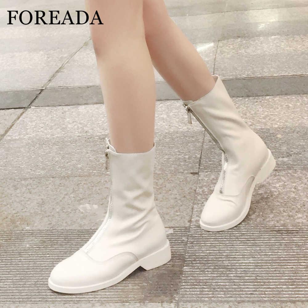 FOREADA Koyun Derisi Orta Buzağı Çizmeler Kadın Kış Çizmeler Ön Fermuar Doğal Deri Kadın Bot Ayakkabı Kırmızı Siyah Artı Boyutu 33 -43