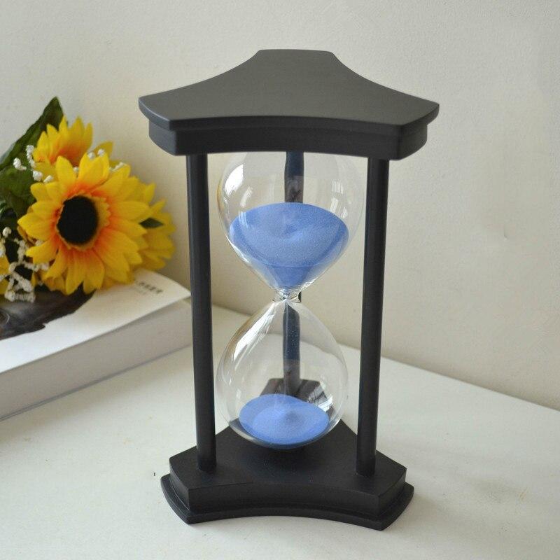 En bois Triangle Cadre Violet Bleu Vert Orange sable horloge montre en verre Sablier Minuterie 60 Min cadeau de noël décor à la maison