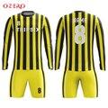 Мужская желтая футбольная форма в полоску с длинным рукавом  желтая футбольная форма