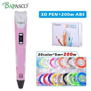 BAPASCO 3d plumas 20 color * 10 m ABS filamento (200 m), 3 pluma 3d modelo, 3d pluma de dibujo pluma impresión mejor regalo para niños creativos