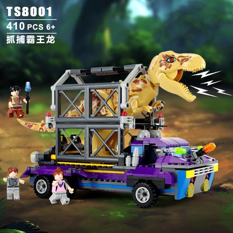 TS8001 Tyrannosaurus Rex Tracker Jurassic Dinosaur World Hunting Car 410pcs Bricks Building Block Toys Gift For Children 75918 лего кубики lego 75918 tyrannosaurus rex