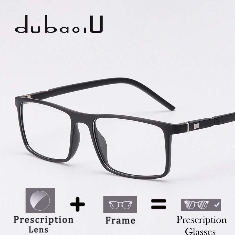 30c3eced3a TR90 Prescription Glasses Men Fashion Rectangle Clear Computer Myopia  Optical Prescription Spectacles High Quality  MZ03-08