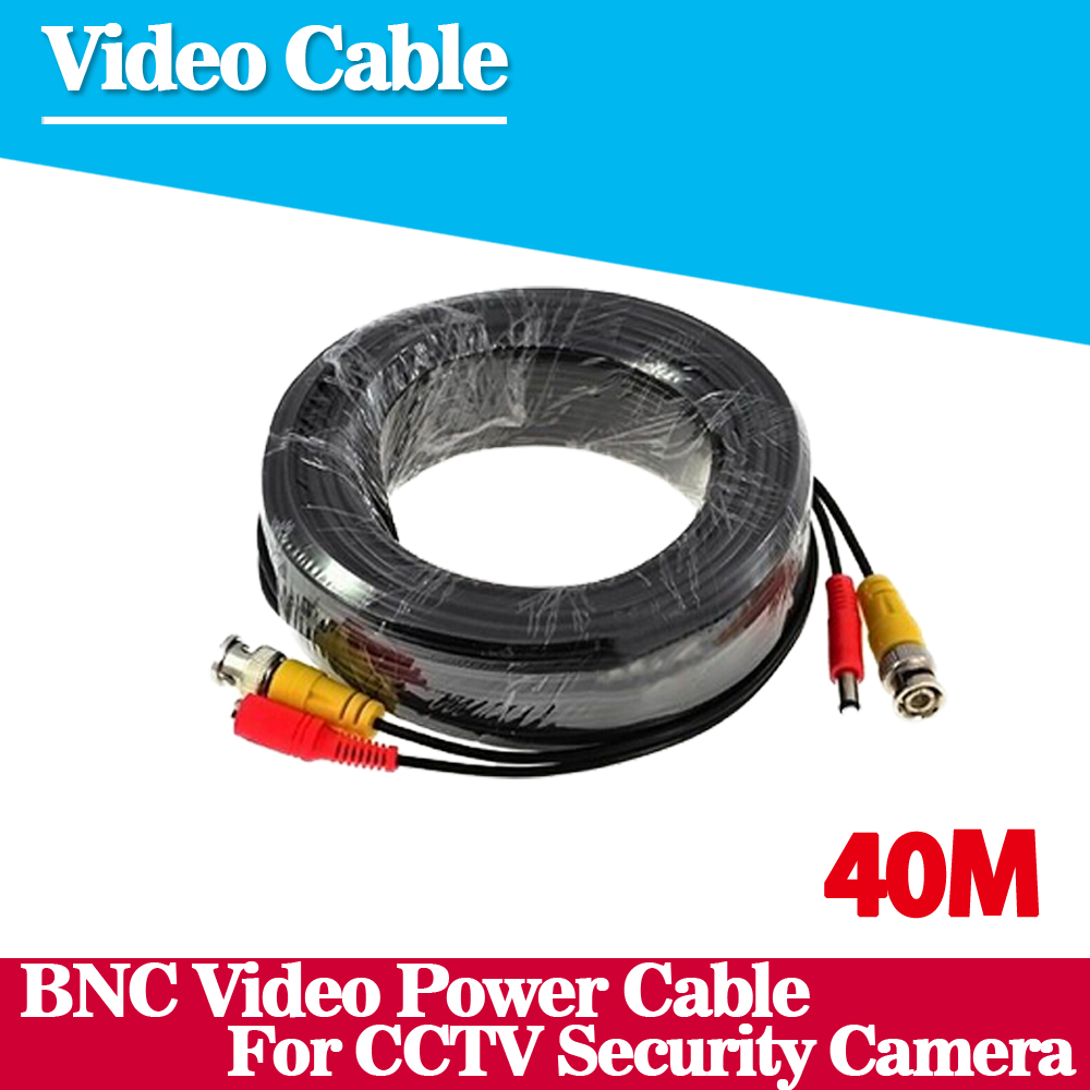 New 40m BNC Video Power CableBNC + DC Plug Connector  for CCTV Security Camera Kit Free Shipping dc bnc шнур 10м