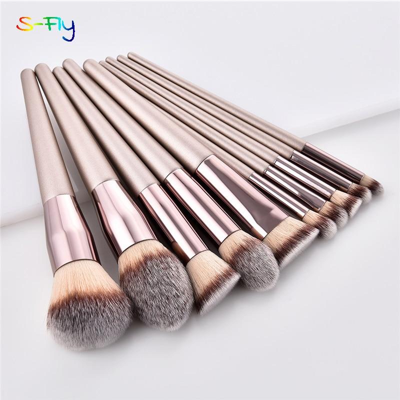 4/10pcs Champagne makeup brushes set for cosmetic foundation powder blush eyeshadow kabuki blending make up brush beauty tool 1